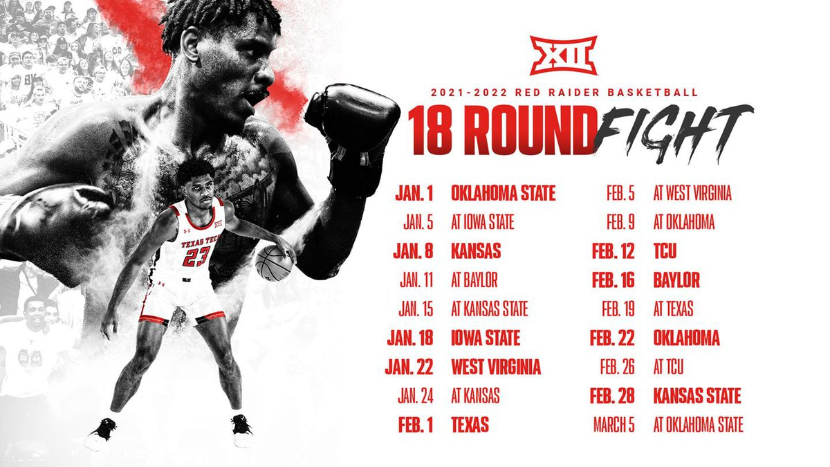 The Big 12 has announced the dates of the 2022 men's basketball slate, starting for Texas Tech...