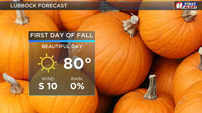 Perfect weather to start the fall season with highs in the upper 70s, lower 80s.
