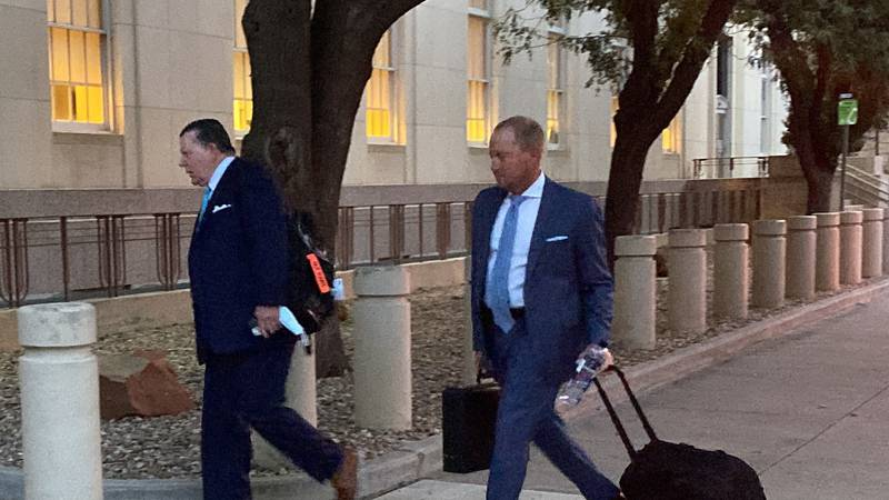 Bart Reagor walks into the Amarillo Federal Courthouse on day one of his bank fraud trial.