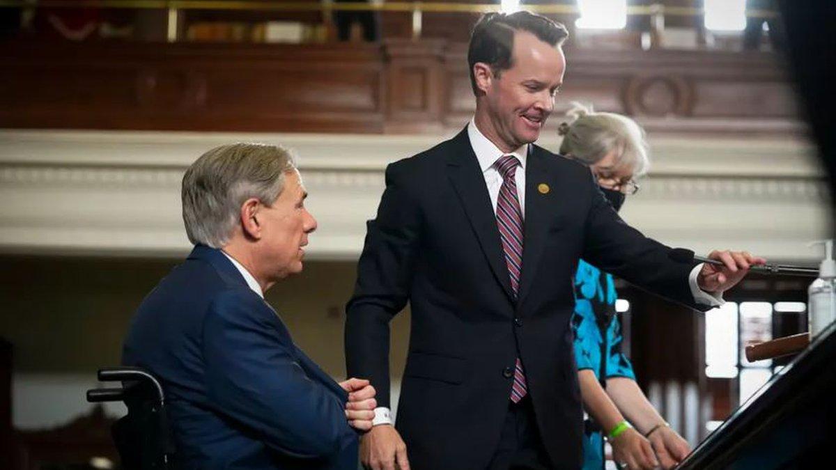 House Speaker Dade Phelan, right, greeted Gov. Greg Abbott during opening ceremonies of the...