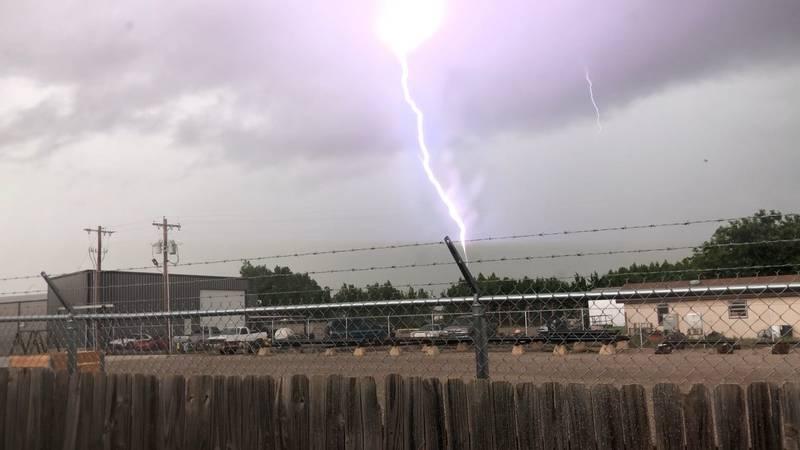 Lightning strike in Wolfforth on Saturday, July 11.