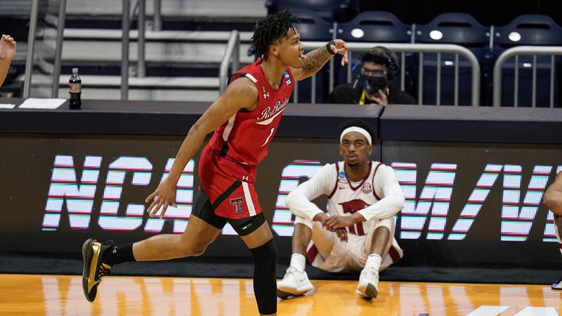 Texas Tech guard Terrence Shannon Jr. (1) celebrates after a three-point basket against...