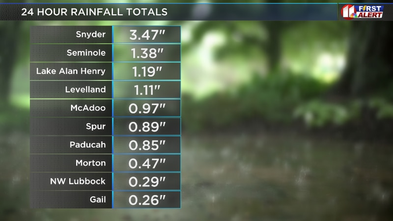 24 hour rainfall totals as of 3 PM on July 5