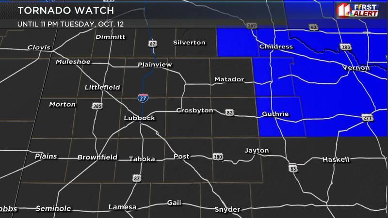 Tornado watch in blue until 11 p.m. Tuesday, Oct. 12.