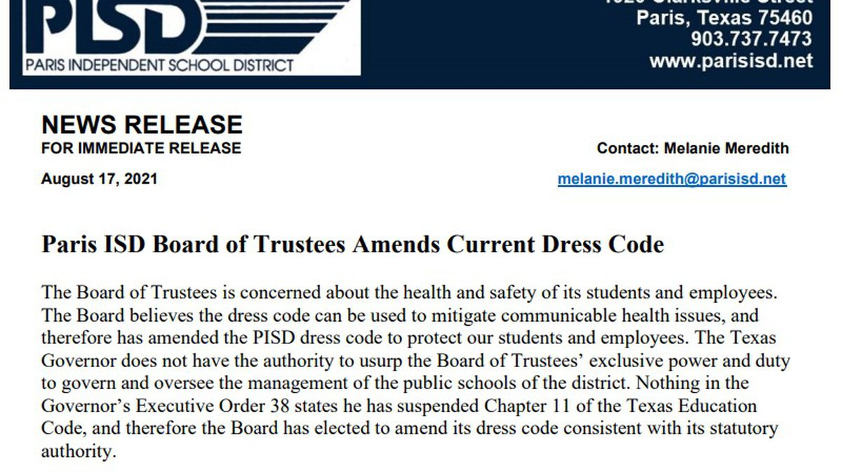 Paris ISD announces new dress code which requires masks to be worn