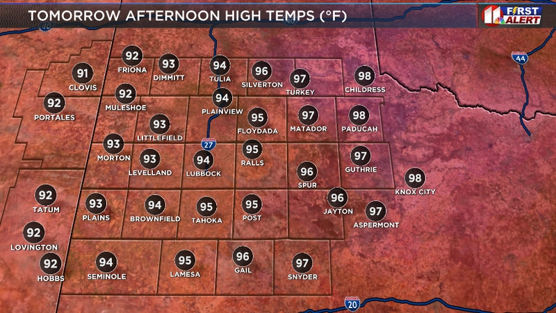 Hot and dry across the South Plains tomorrow