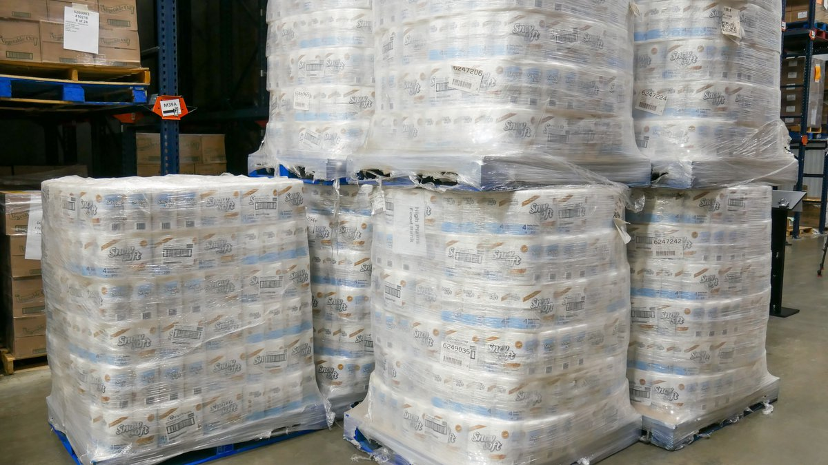 The United Family donates more than 200,000 rolls of toilet paper to food banks, 21,000 rolls...