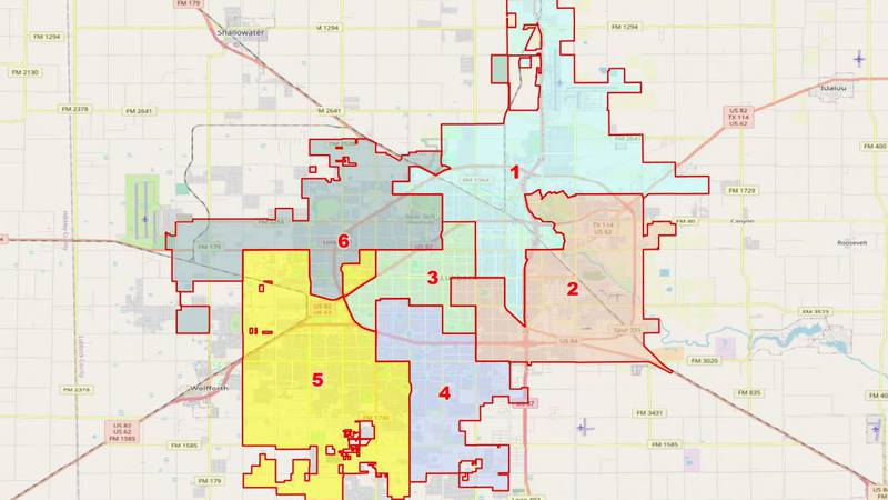 Current Lubbock City Council Districts