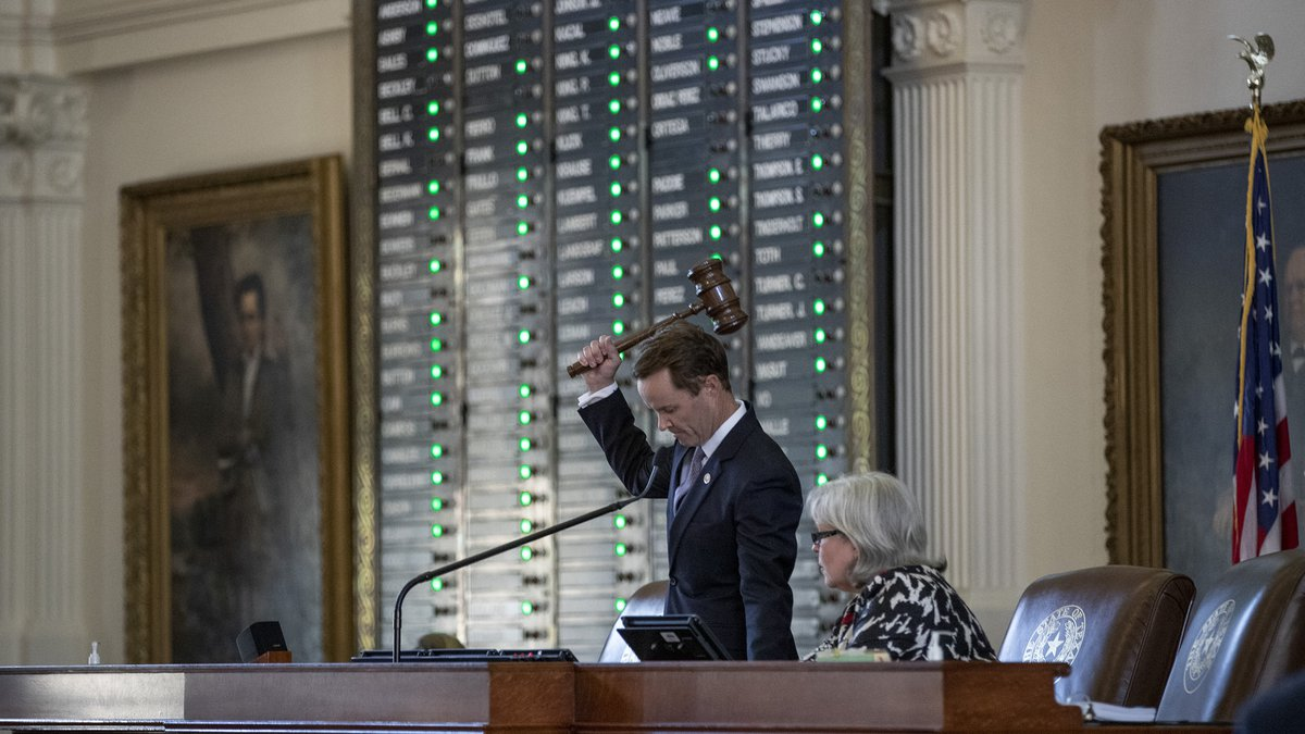 House Speaker Dade Phelan, R-Beaumont, gavels in with a quorum present at the Capitol in...