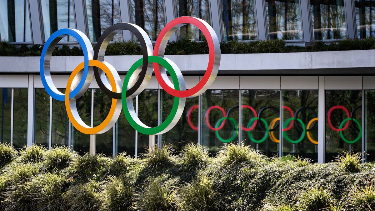 Olympic Rings are seen next to the headquarters of the International Olympic Committee (IOC) in...