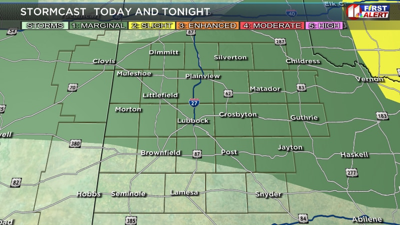 Marginal risk for Lubbock County and much of the KCBD viewing area