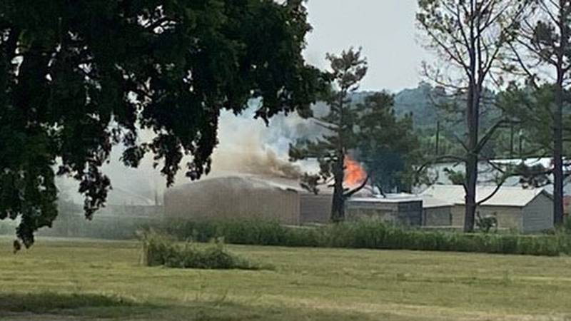 An explosion and fire was reported Thursday morning at H&P Farms in Mead, Oklahoma.
